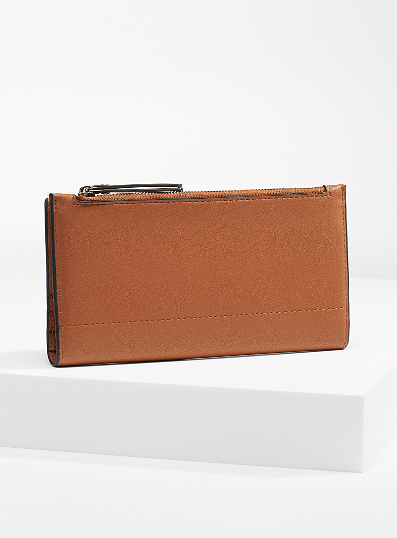 Simons Brown Recycled fold wallet for women