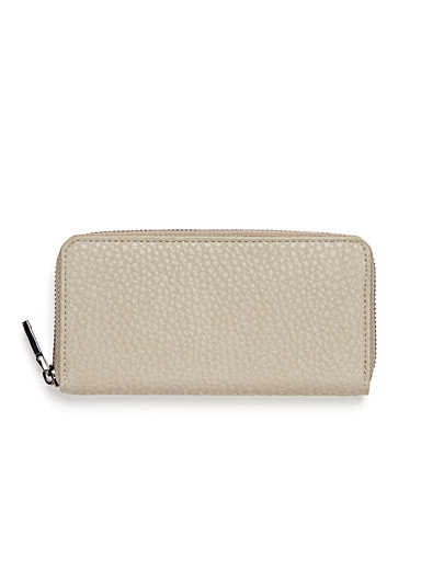 Grained faux-leather compact wallet