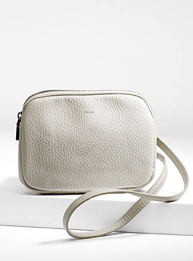 Pebbled shoulder strap wallet