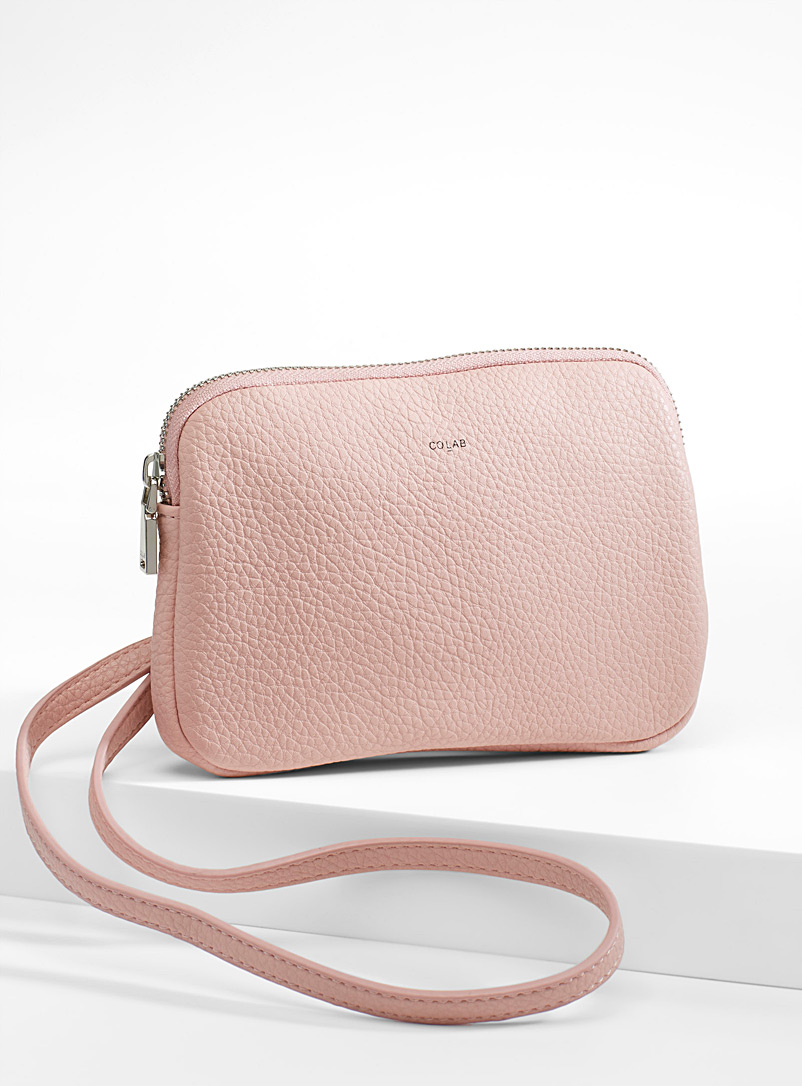 Faux-leather shoulder clutch - Clutches and Minaudieres - Dusky Pink
