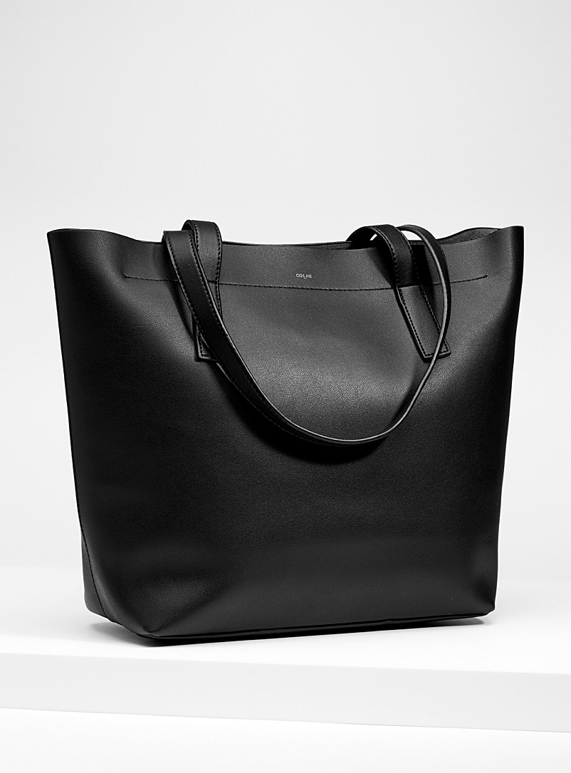 Structured faux-leather tote - Tote Bags - Black
