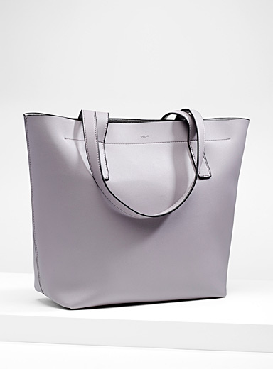 Structured faux-leather tote