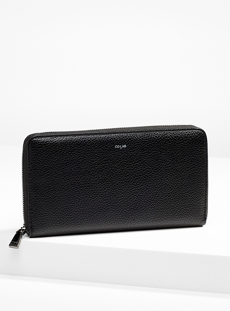 COLAB Black Grained faux-leather travel wallet for women