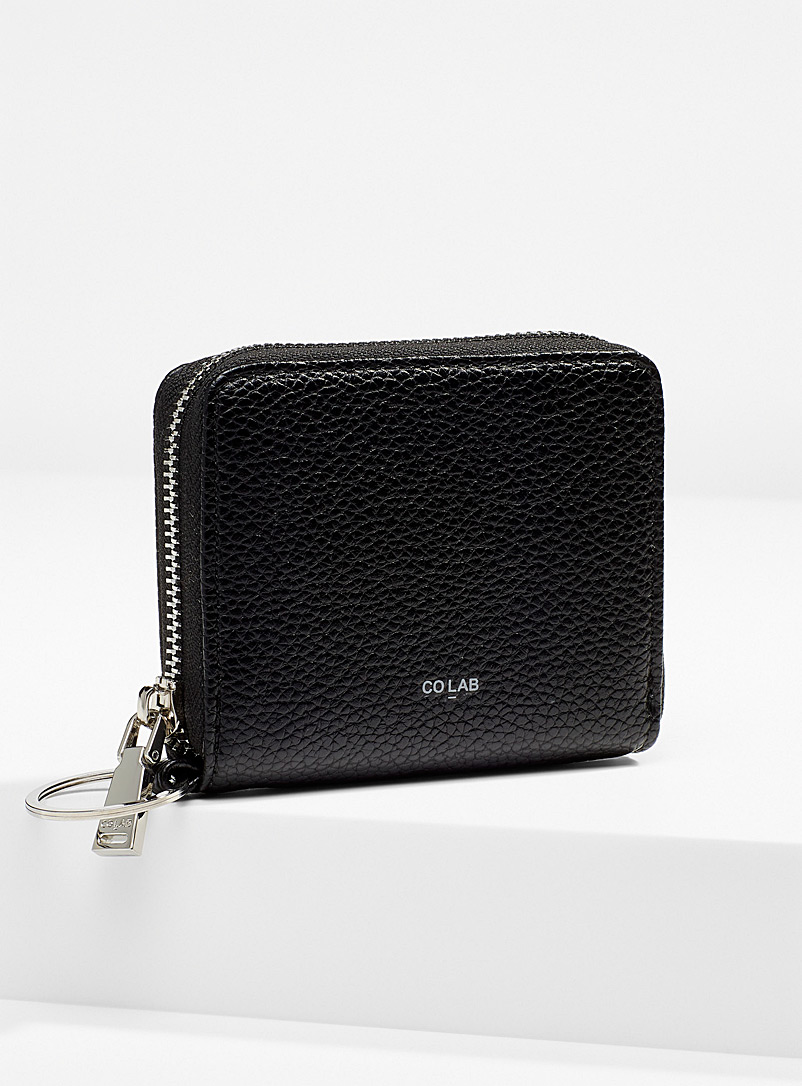 COLAB Black Grained faux-leather small wallet for women