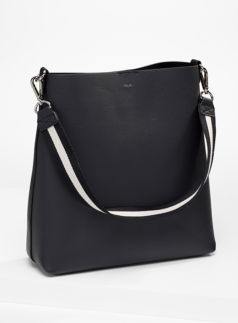 COLAB Black Two-tone strap tote for women