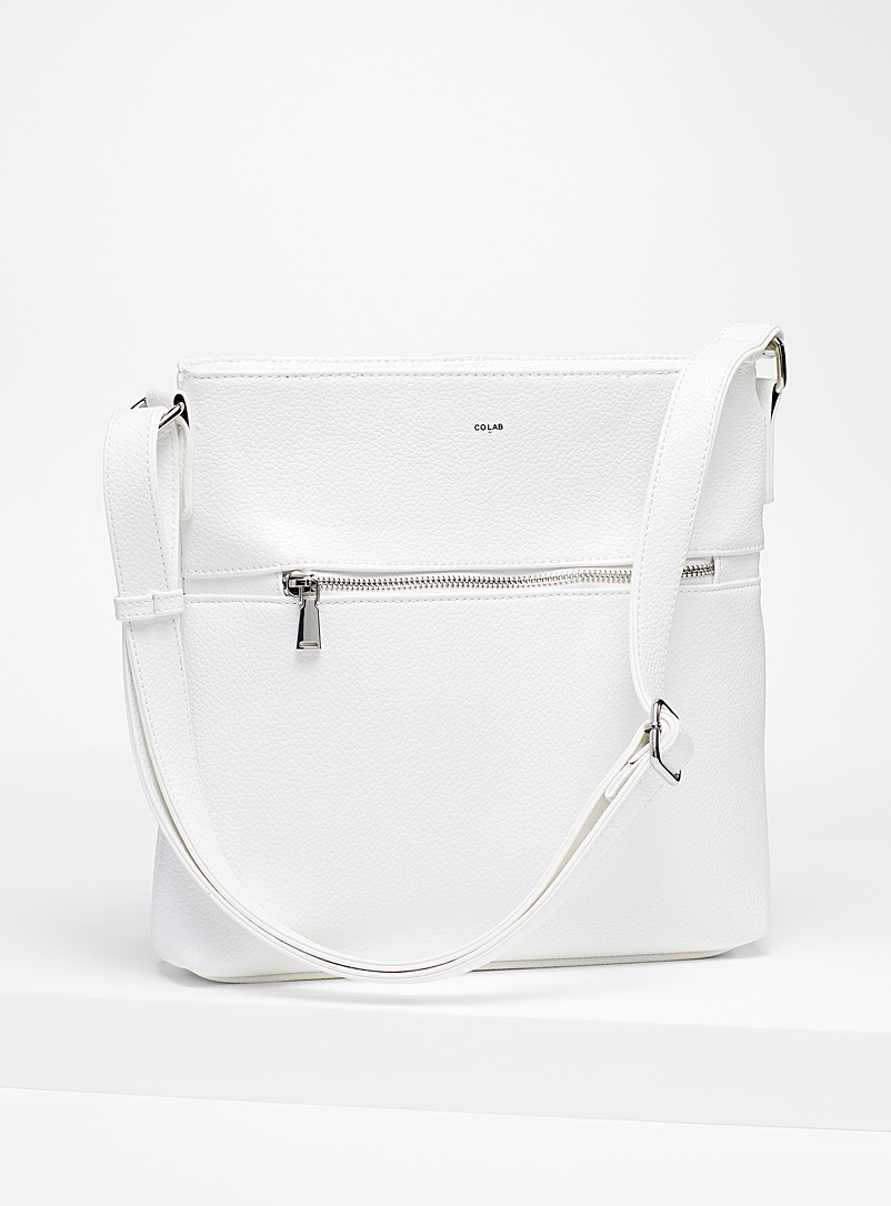 COLAB White Grained shoulder bag for women