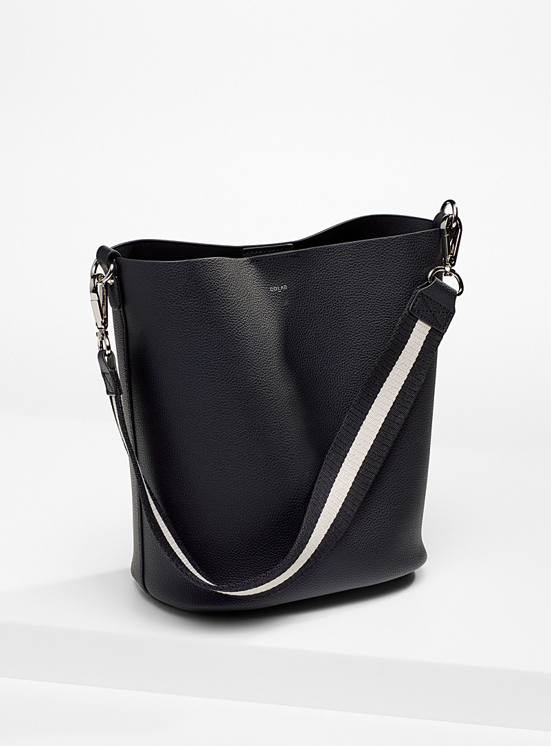 COLAB Black Two-tone shoulder strap bucket bag for women