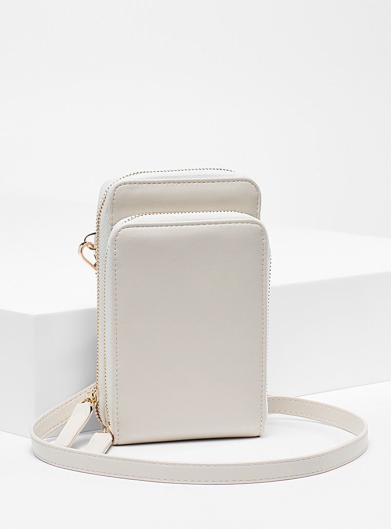 Simons Ivory White Recycled faux leather double phone clutch for women