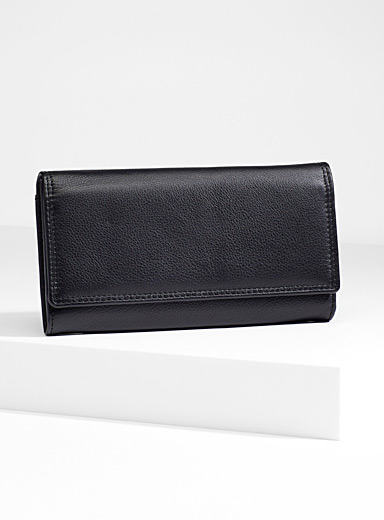 Three compartment leather wallet