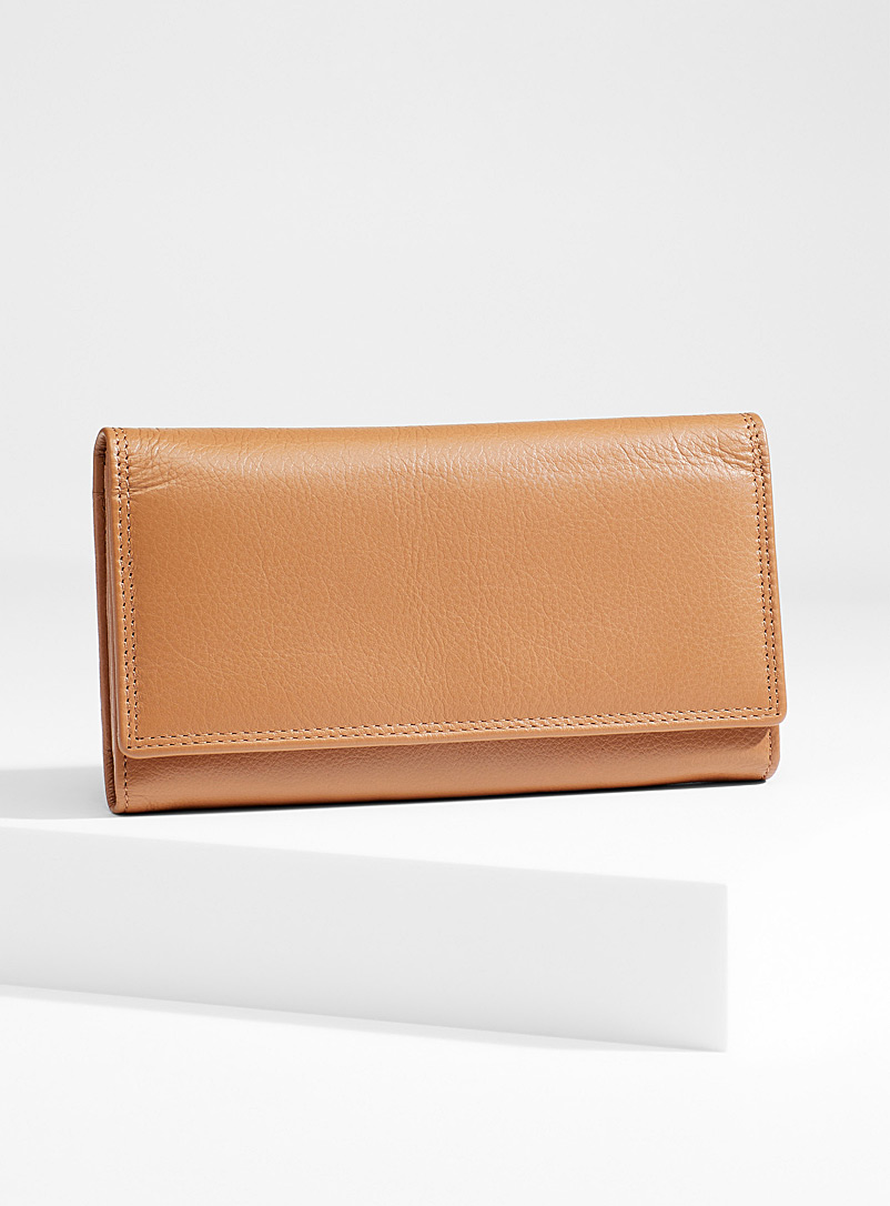 Simons Fawn Three compartment leather wallet for women