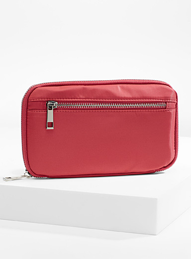 Simons Light Red Satiny fabric wallet for women