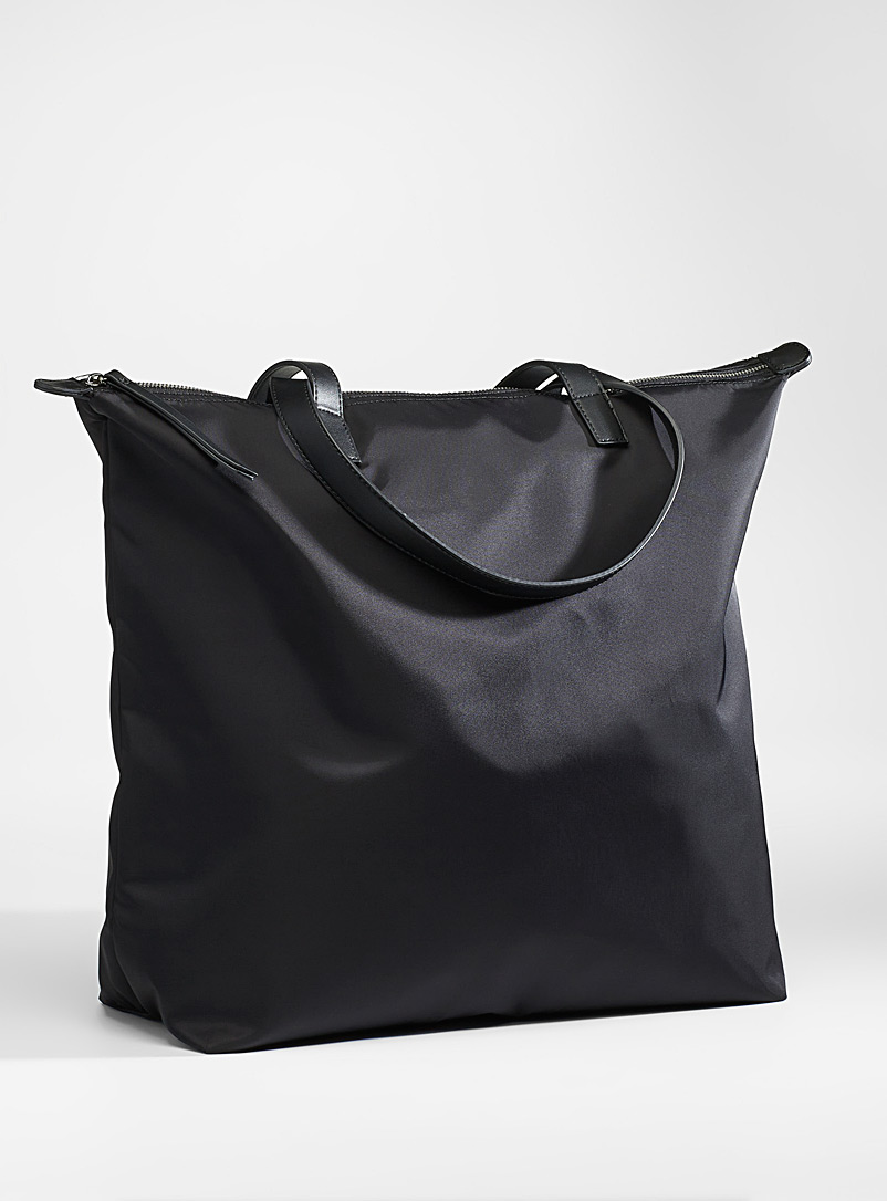 Simons Black Oversized recycled polyester tote for women