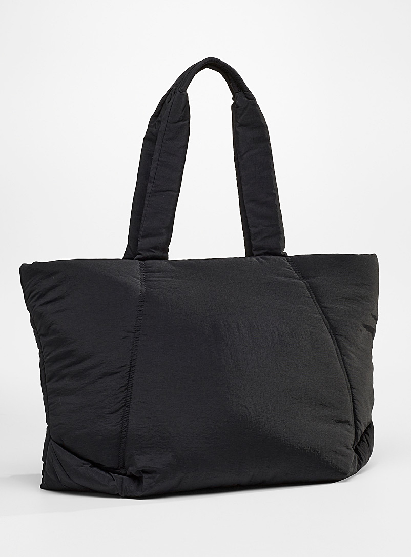Simons Black Quilted oversized tote for women