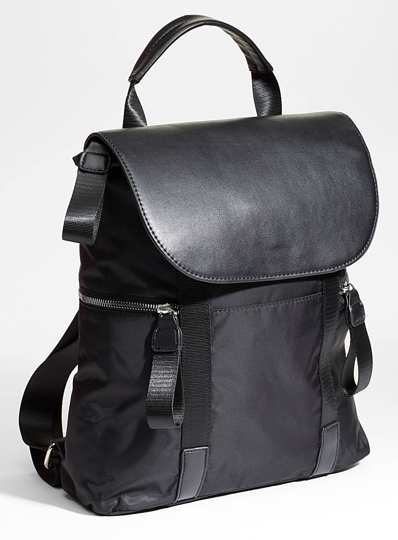 Simons Black Utilitarian nylon backpack for women