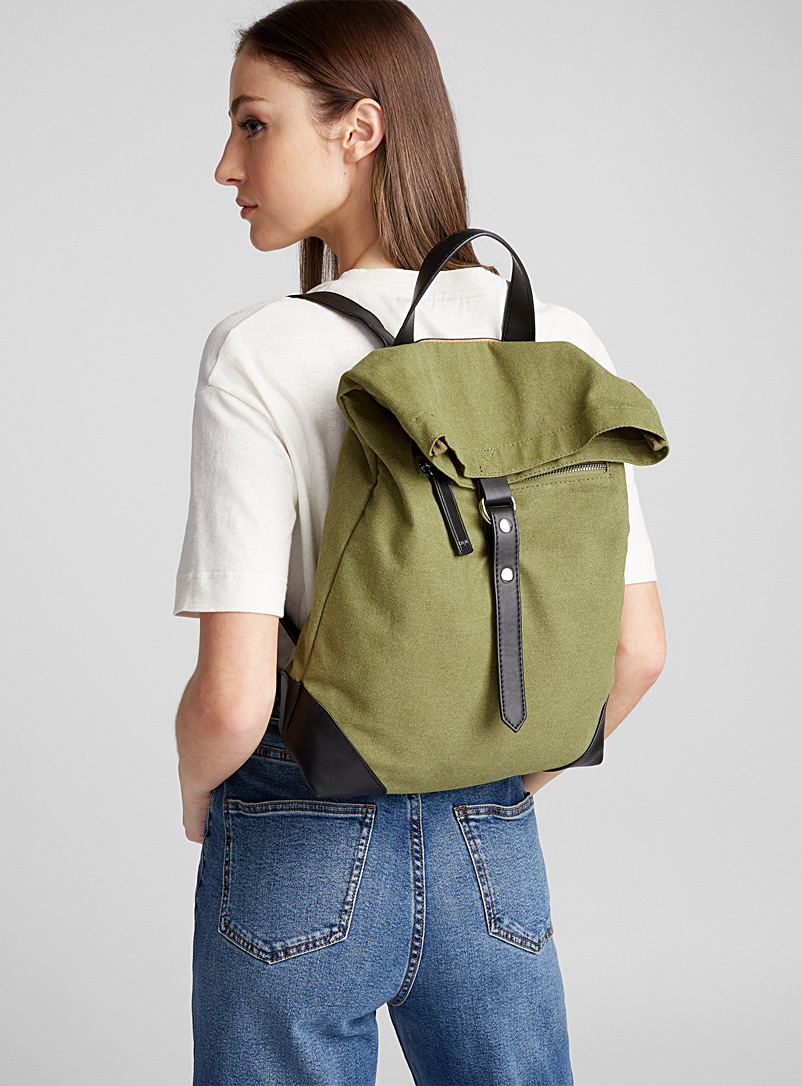 Faux-leather accent backpack - Backpacks - Mossy Green