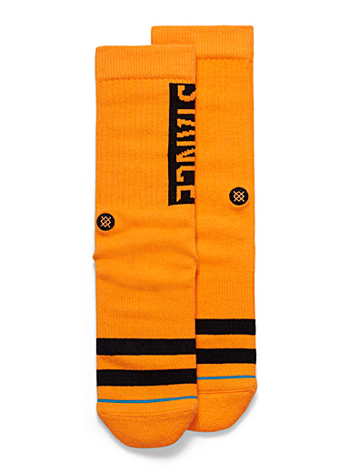 Orange cone ribbed socks