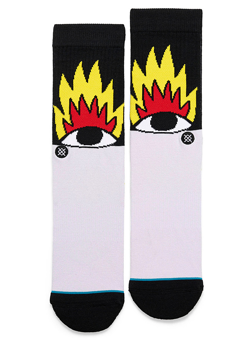 Flame eye socks - Casual socks - Patterned Black