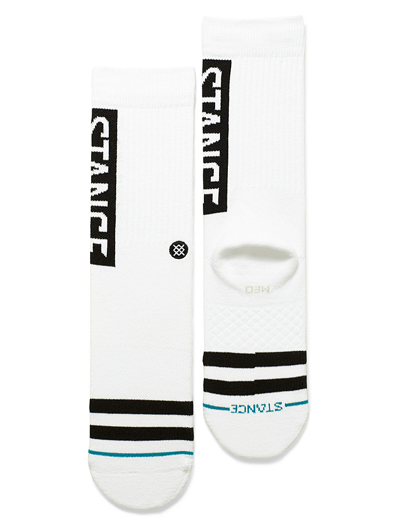 Stance White Rectangular logo socks for men