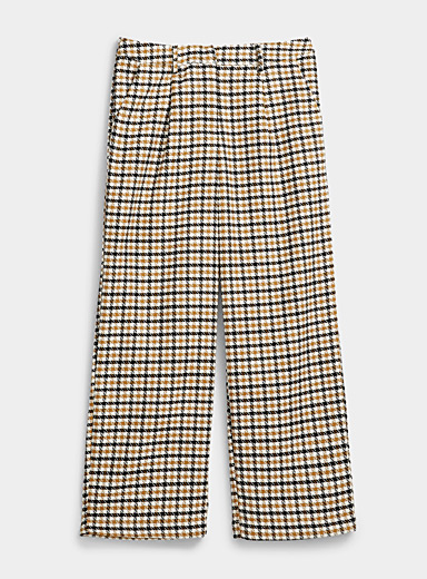 Minimum Patterned Brown Caramel check pant for women