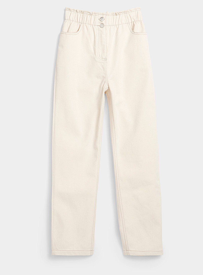 Minimum White Elastic waist ivory jean for women