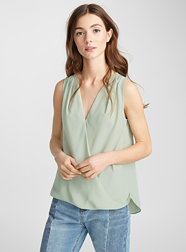 Crossover draped blouse