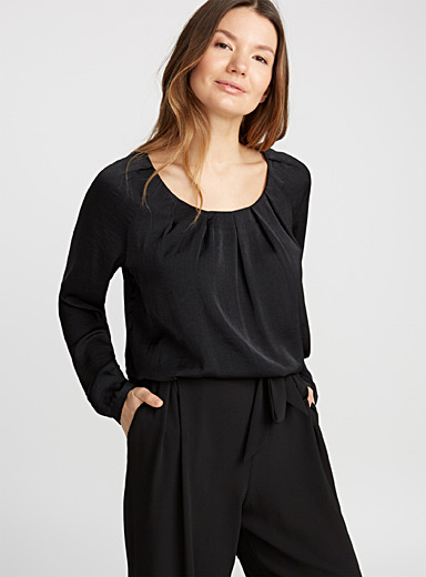 Pleated-collar hammered satin blouse