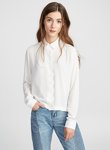 Scalloped crepe blouse