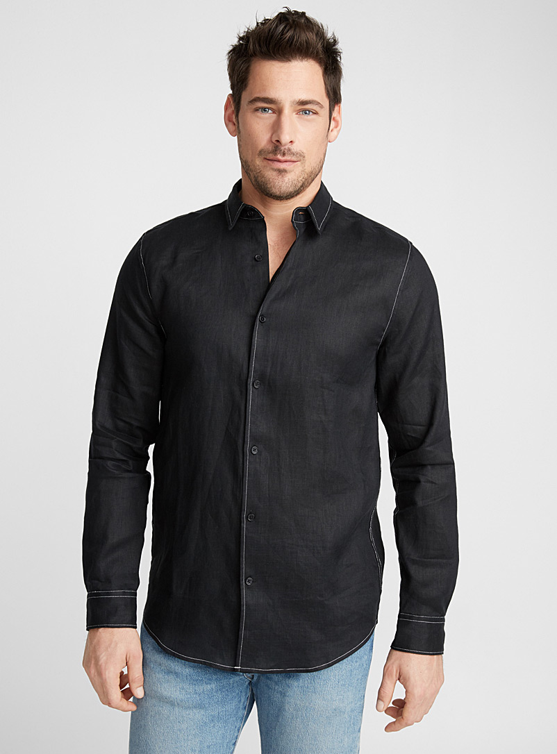 Topstitched premium linen shirt  Modern fit - Pure Linen - Black