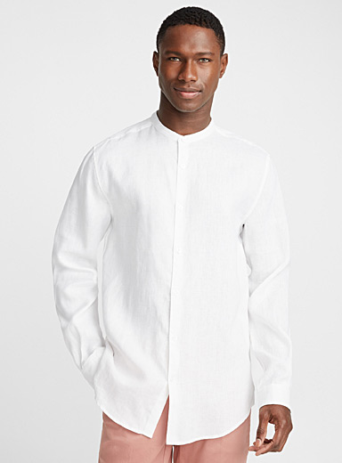 Officer-collar premium linen shirt <br>Modern fit