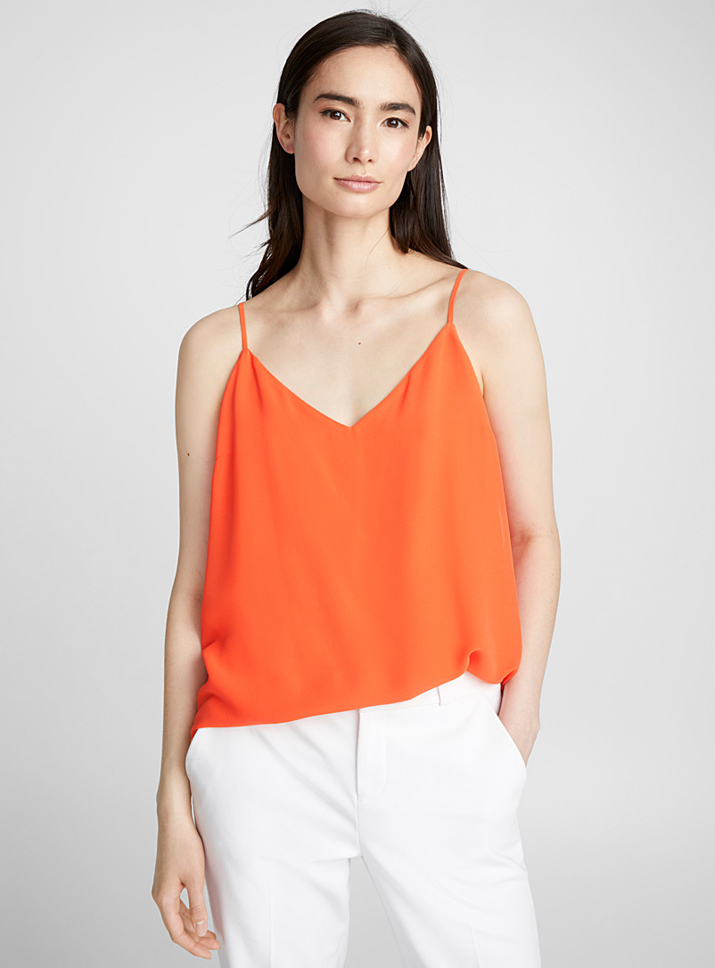 Fluid thin-strap camisole - Blouses - Medium Orange