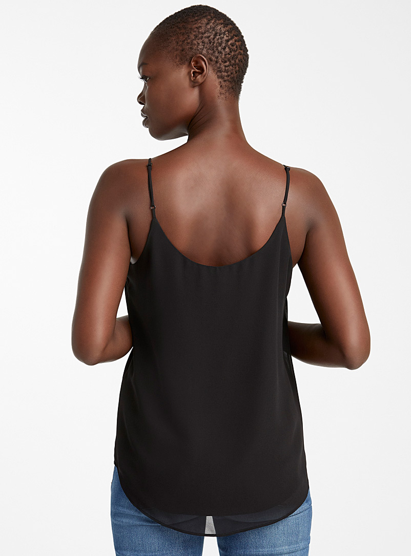 Recycled crepe thin-strap camisole - Blouses - Black