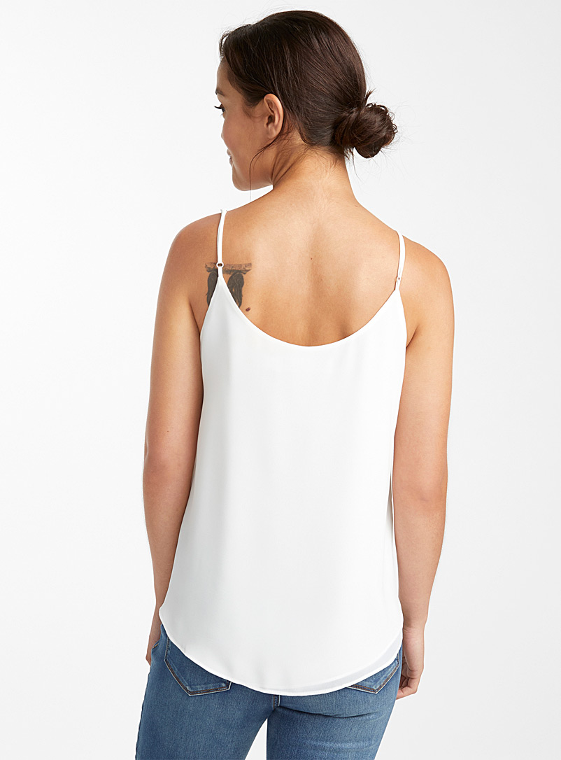 Recycled crepe thin-strap camisole - Blouses - Ivory White