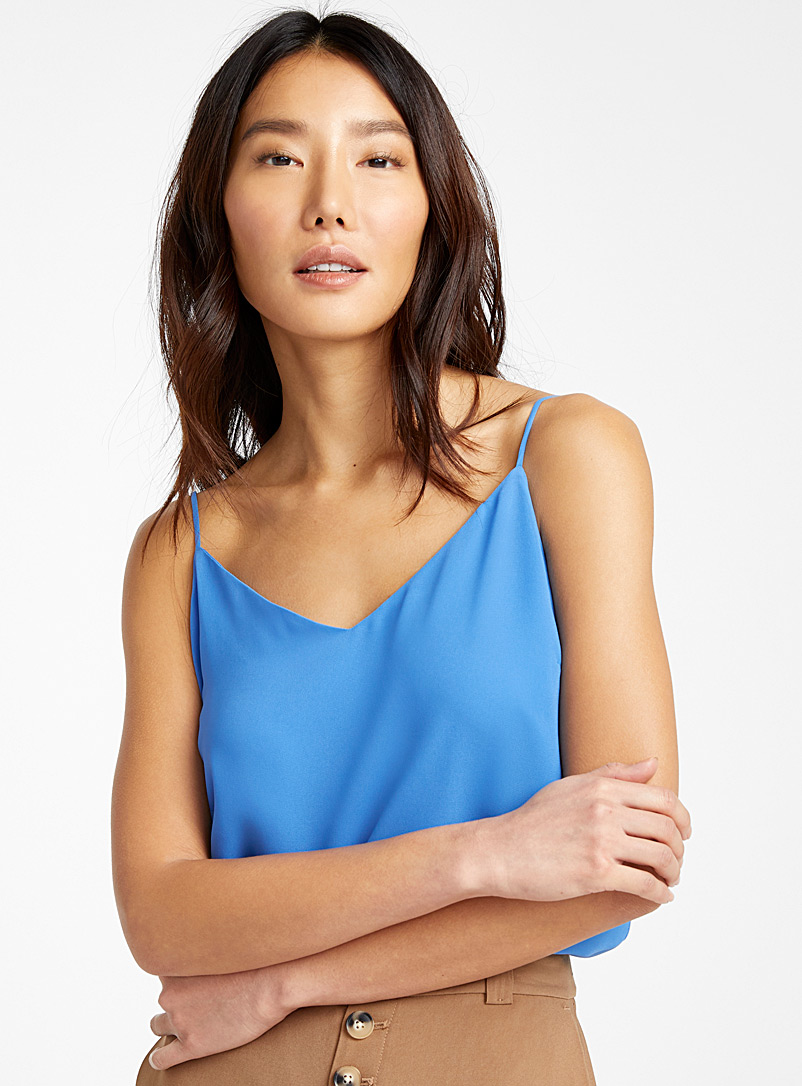 Contemporaine Teal Recycled crepe thin-strap camisole for women