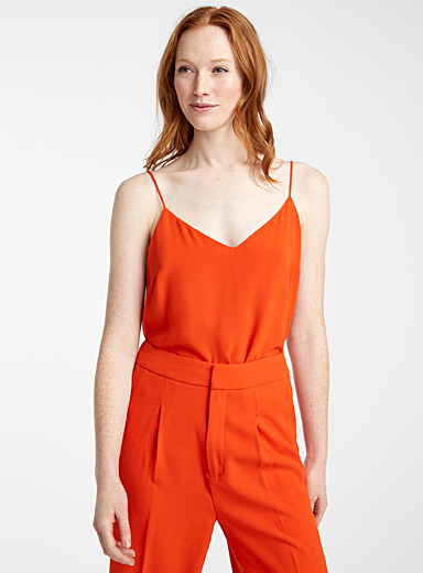 Contemporaine Orange Recycled crepe thin-strap camisole for women