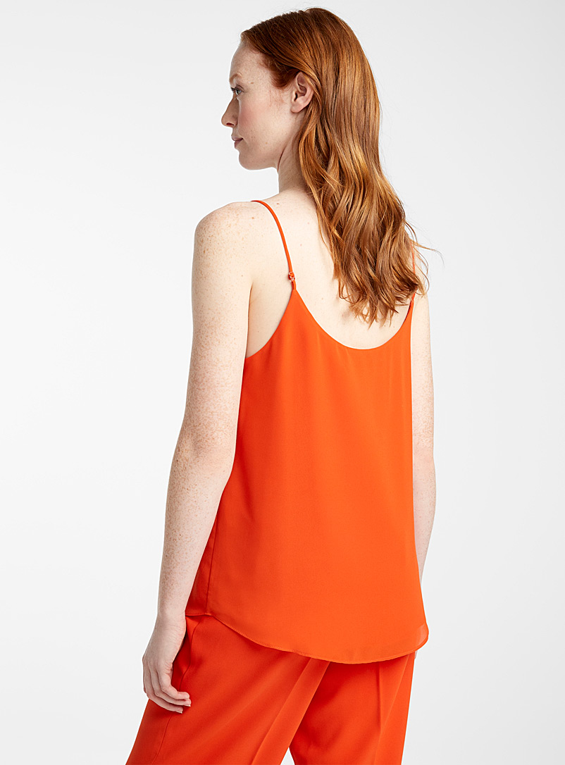 Recycled crepe thin-strap camisole - Blouses - Orange