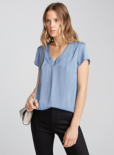 Hammered satin V-neck blouse
