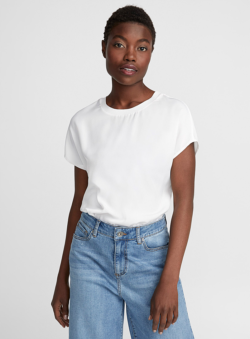 Ribbed collar silky blouse - Blouses - White