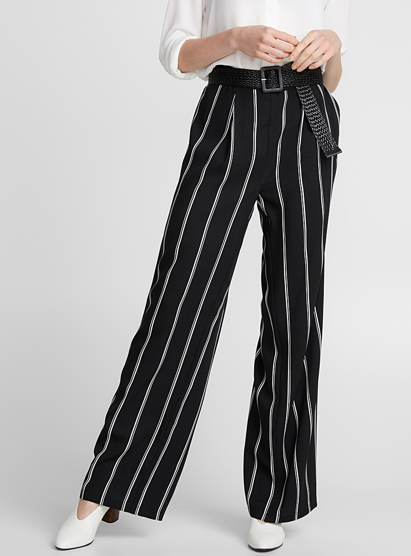 Printed fluid wide-leg pant - Wide leg - Black and White