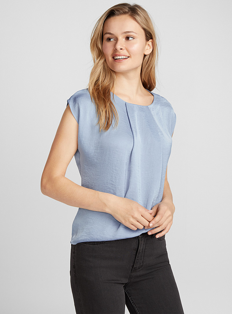 Hammered satin pleated-collar blouse - Blouses - Baby Blue