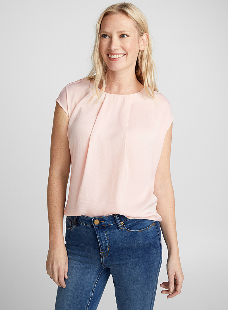 Hammered satin pleated-collar blouse - Blouses - Dusky Pink