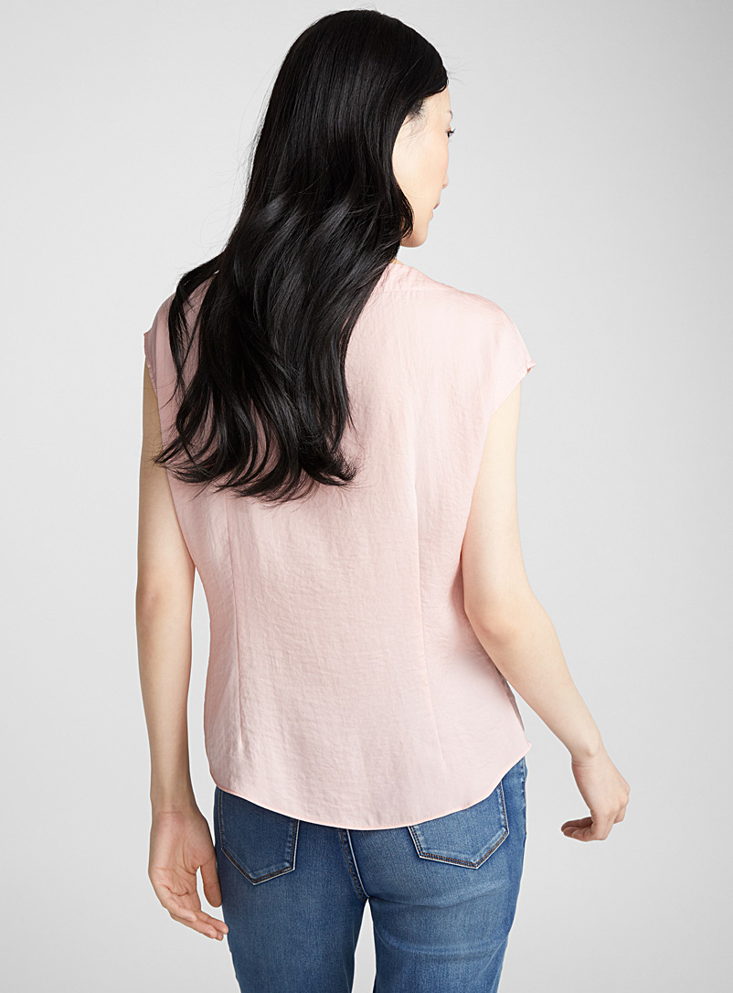 Hammered satin pleated-collar blouse - Blouses - Medium Pink