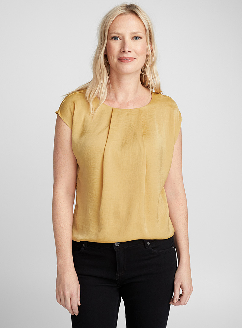 Hammered satin pleated-collar blouse - Blouses - Golden Yellow
