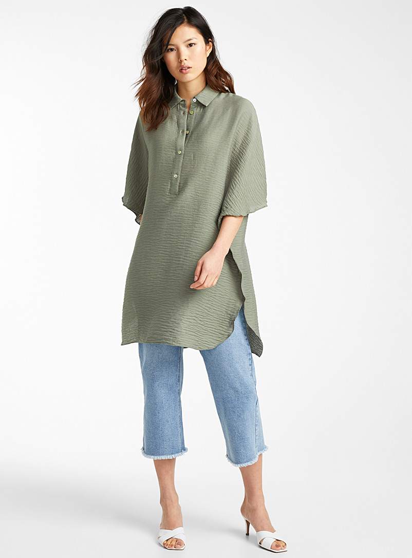 Icône Khaki Wave-textured shirt for women