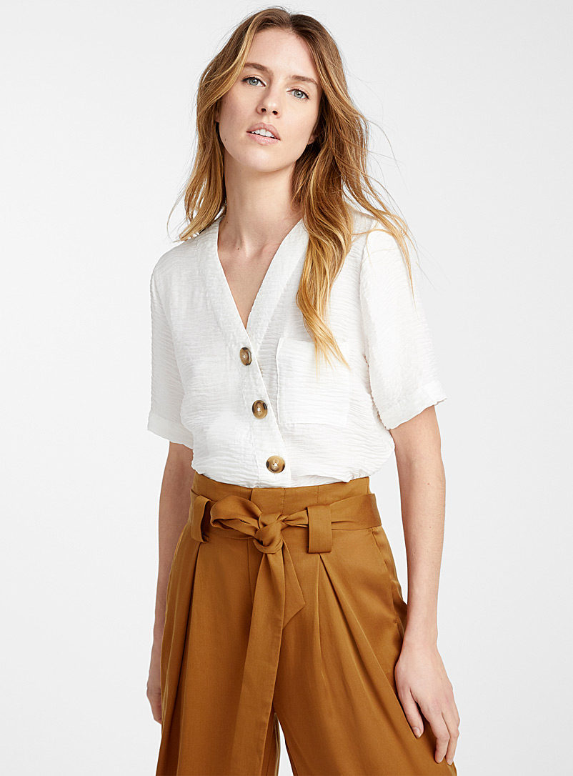 Icône Ivory White Buttoned crossover blouse for women