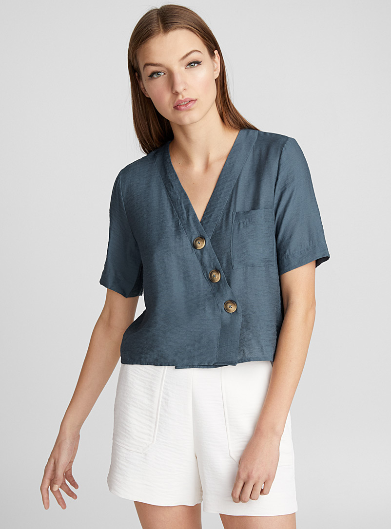 Buttoned crossover blouse - Crop Tops - Marine Blue