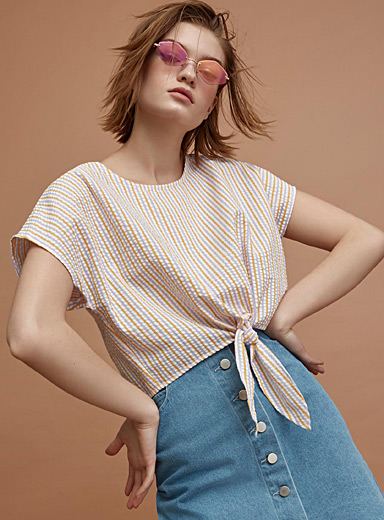Knotted waffle blouse