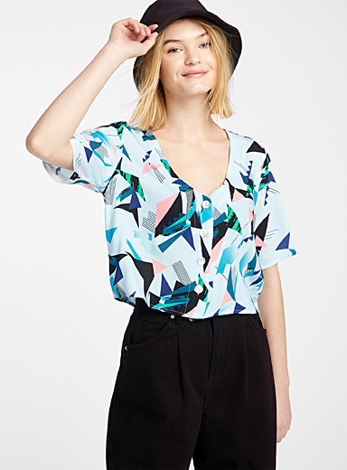 Twik Assorted Cropped iridescent button blouse for women