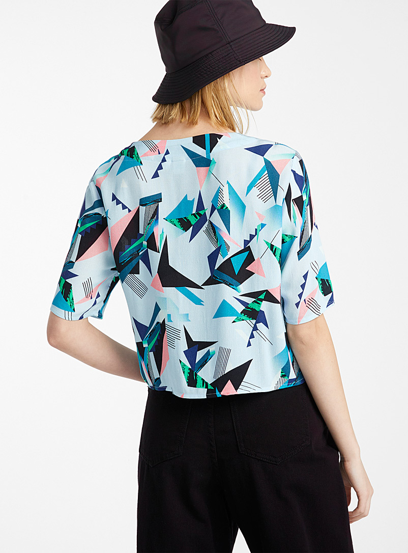Twik Patterned Blue Cropped iridescent button blouse for women