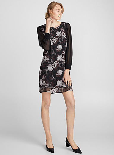 Voile-sleeve floral dress
