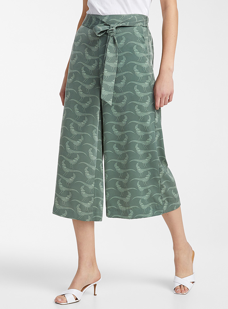 Icône Patterned Green Silky ribbon-waist culottes for women
